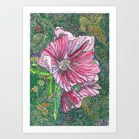 Art Print featuring Pink Flower by Juliana Kroscen Flower Frame, Got Print, Prints For Sale, Framed Art Prints, Pink Flowers, Stationery, Artwork, Cards, Painting
