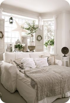 white and beige room. very airy and relaxing