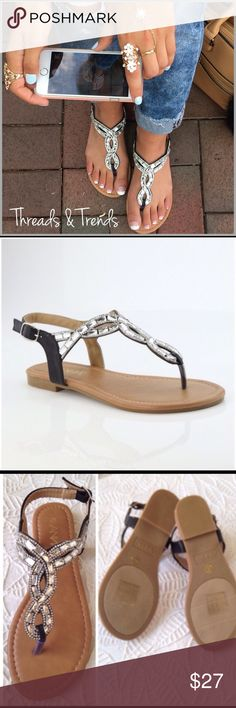 Braided Gem Sandals Braided embellished gem sandals with side buckle closure. Pair with jeans or dress casual look. Size 8 brand new in box Threads & Trends Shoes Sandals