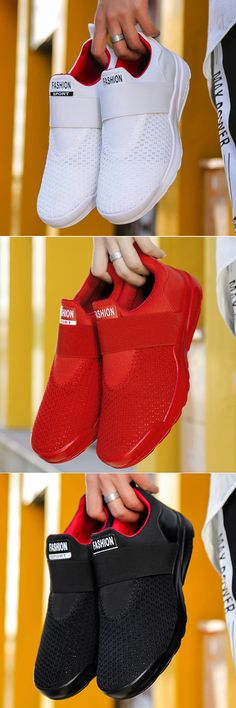 super popular 66312 23a84 Men Knitted Fabric Breathable Elastic Slip On Athletic Running Shoes shoes   running  sports