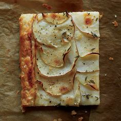Red Potato and Apple Galette | The flaky, buttery crust of this elegant pastry is perfectly complemented by the decadent creme fraiche and tangy apple filling.
