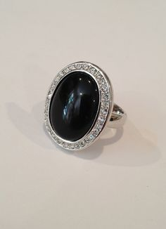 Vintage Onyx and Pave Estate Jewelry Ring by WOWTHATSBEAUTIFUL