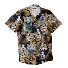 """""""What's got these cats so spooked? Maybe they saw a skeleton creeping around or a ghost in the closet. Button Shirts, Button Down Shirt, Men Casual, Cats, Skeleton, Mens Tops, Closet, Fashion, Gatos"""