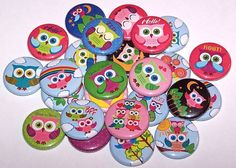 10 Cute Colorful Owls Mix 1 Inch Pinback by DistinctDesignsUnltd, $5.00..getting for gens bday party