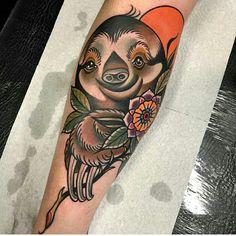 Sloth tattoo done by Manu Cruz.