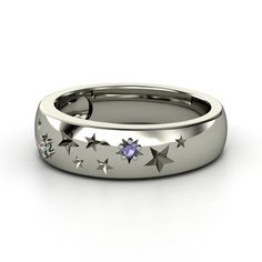 Round Iolite Sterling Silver Ring with Alexandrite - Written in the Stars Ring | Gemvara