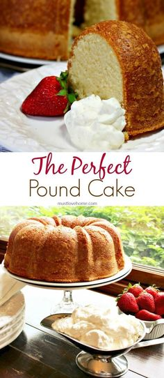 Perfect Pound Cake is buttery and sweet, with a hint of vanilla. This cake is rich, with the flavor of shortbread cookies, but is still light as a feather. Serve with fresh whipped cream and berries as a fancy dessert or brunch dish - can also be made ahe Fancy Desserts, Just Desserts, Delicious Desserts, Dessert Recipes, Recipes Dinner, Parfait Recipes, Perfect Pound Cake Recipe, Pound Cake Recipes, Pound Cakes