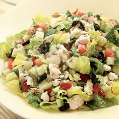 Chopped Greek Salad with Chicken - under 350 calories! dinner salad Chopped Greek Salad with Chicken Healthy Recipes, Salad Recipes, Great Recipes, Dinner Recipes, Cooking Recipes, Favorite Recipes, Healthy Dinners, Easy Recipes, Amazing Recipes