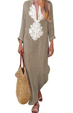 0bbc280f1ae ASSKDAN Femme Bohème Kaftan Robe Longue Maxi Coton Col V Mangches Longue  Imprimé Floral Tunique Robe