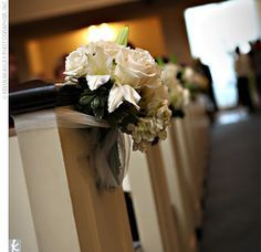white roses on pews - Google Search