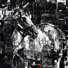 "Derek Gores  Back in Black 48"" x 48"" collage on panel derek (at) derekgores (dot) com #collage #equineart #churchilldowns #kentuckyderby #windsor #floridaart"