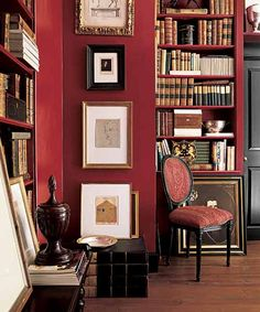 Richly painted walls make a thoughtfully curated art collection and shelves of aged tomes stand out in a seasoned study Ralph Lauren Paint s National Red available at homedepot Red Office, Home Office, Living Room Red, Living Room Decor, Red Room Decor, Red Wall Decor, Salons Cosy, Red Walls, Red Painted Walls