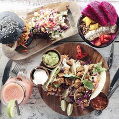 """13.6k Likes, 130 Comments - Tess Begg ∙ VEGAN (@tessbegg) on Instagram: """"Mouth watering #vegan lunch at @the_spicy_coconut Chickpea burger, tempeh tacos, pitaya bowl &…"""""""