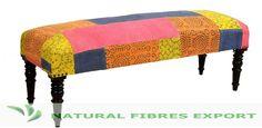 Multi-color Patchwork Upholstered Bench  #Furniture #Bench #designer