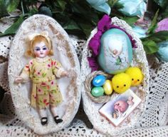 """Tiny 3 1/4"""" Bisque head (Glass eyes, swivel neck) German all bisque dollhouse doll in tin Easter egg"""