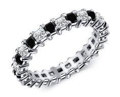 1.50 ctw. Black and White Diamond Eternity Band