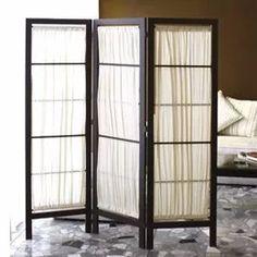 biombo de tela, separador plegable, de madera, 3 paneles,
