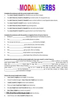 Modal verbs - English ESL Worksheets for distance learning and physical classrooms English Grammar Worksheets, Verb Worksheets, Learn English Grammar, English Lessons, English Vocabulary, Teaching English, Printable Worksheets, Multiplication Worksheets, English Resources