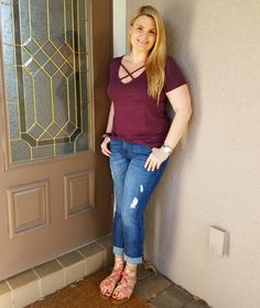 Fabulously Overdressed Fashion Blog. Cross strap top. Distressed jeans. Weekend wear. Pom pom sandals. Fabulouslyoverdressed.com