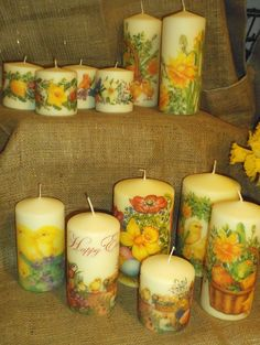 Some of the pretty napkin decoupaged candles I decorated for Easter. See more of my work on www.facebook.com/YourLovelyHomeStephanieSinclair and www.folksy.com/shops/YourLovelyHome