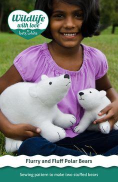 Flurry and Fluff stuffed felt polar bears PDF pattern by betzwhite