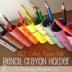 Porta lápis de rolo de papel higiênico