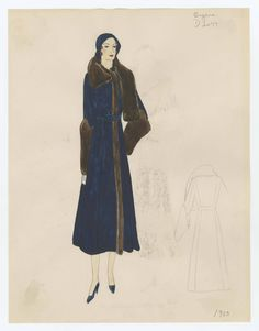 Bergdorf Goodman sketches. Metropolitan Museum of Art (New York, N.Y.). 1930-1940. Costume Institute #warm #cozy | With the temperature dropping so much nowadays, wearing a warm coat is a good idea.