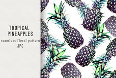 Tropical pineapples seamless pattern @creativework247