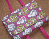 Casserole Carrier in Gray and Pink Damask with Green Swirls $35.00
