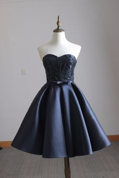 Cute blue satin short prom dress, homecoming dress