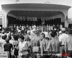 This looks like the early 1960's judging from the swim suits and the hair.  Among the competitors for the title of Miss Duval County were Miss Beach News, Miss Putt Putt Golf, Miss Sun Discount City, Miss Pic N' Save and Miss Sea Side Drive-in.