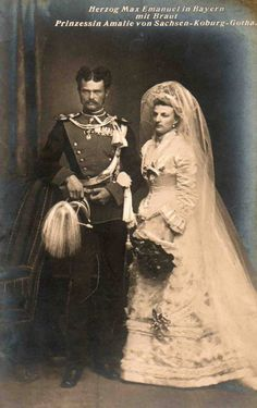Princess Amalie of Saxe-Coburg and Gotha and Duke Maximilian Emanuel in Bavaria on their wedding day;September 20,1875.