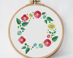 Floral wreath cross stitch patrón pdf - flor patrón pdf - almohada bordada - descarga instantánea - descarga digital