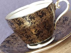 Vintage 1950's Black & Gold tea cup, Aynsley tea cup and saucer, Black tea cup, Bone china tea cup, English tea cup, Antique tea cup
