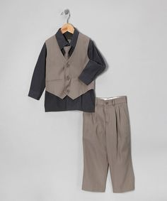 Another great find on #zulily! Sweet Kids Gray Four-Piece Suit - Toddler & Boys #zulilyfinds