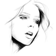 Black and white drawing...I love the hatching above the eyelids