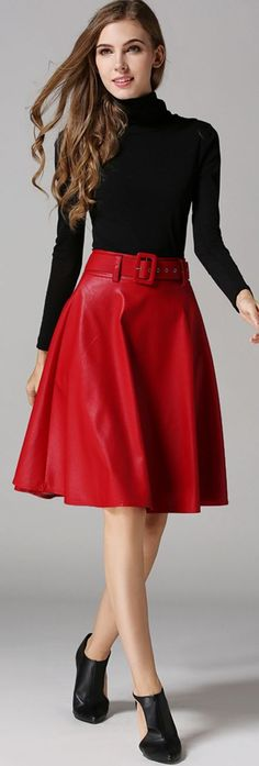 Red Belted A Line Skirt