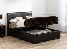 Vienna Brown Faux Leather Upholstered Ottoman Bed Frame