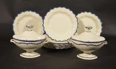 An Rare 18th century English Pottery Creamware Dessert Service | From a unique collection of antique and modern dinner plates at http://www.1stdibs.com/furniture/dining-entertaining/dinner-plates/