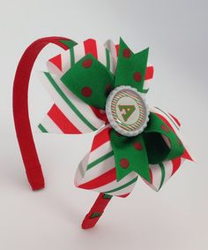Look at this #zulilyfind! Fairy Bow Mother Red & Green Stripe Initial Bow Clip & Headband by Fairy Bow Mother #zulilyfinds