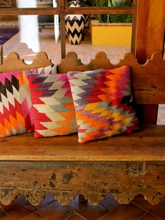 kilim pillows + stripes