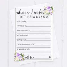 Give the bride and groom a keepsake they'll cherish for years to come by having guests fill out these bridal shower advice cards! Bridal Shower Activities, Fun Bridal Shower Games, Printable Bridal Shower Games, Unique Bridal Shower, Bridal Showers, Good Marriage, Marriage Advice, Wedding Advice Cards, Wedding Ideas