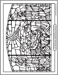 Joseph, Mary, and Jesus Nativity Stained Glass Coloring Page