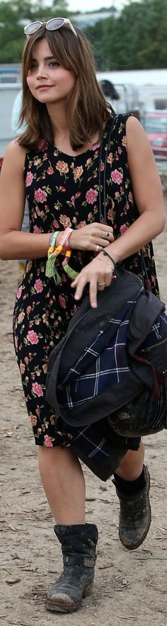 Jenna Louise Coleman in a very cool outfit for an outdoor summer event