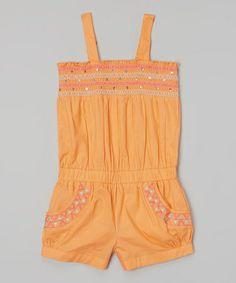 Loving this Orange Triangle Shirred Tie Romper - Infant, Toddler & Girls on #zulily! #zulilyfinds
