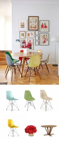 For an especially cheerful room, try mixing chairs in different colors. #diningroom