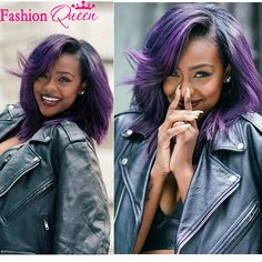 Find More Human Wigs Information about Glueless full lace wigs/brazilian lace front wigs 130density black/purple ombre wig 10 18 inch short bob wigs for black women,High Quality wig red,China wig maker Suppliers, Cheap wig wholesale from Fashion Queen Hair CO.,Ltd on Aliexpress.com