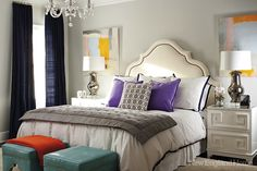 Suzie: New England Home - Jan Hiltz - Chic bedroom with white nailhead trim headboard, gray ...