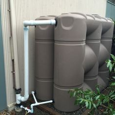 Two 530 gallon slimline models stacked back to back