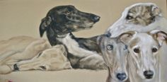 Sobers Greyhounds 150 x60,acrylic on canvas,painted by lucillabollati.com #hounds#dogs